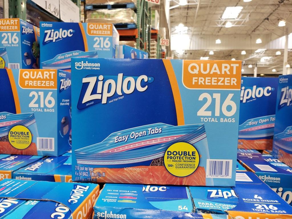 Ziploc bags on display in store