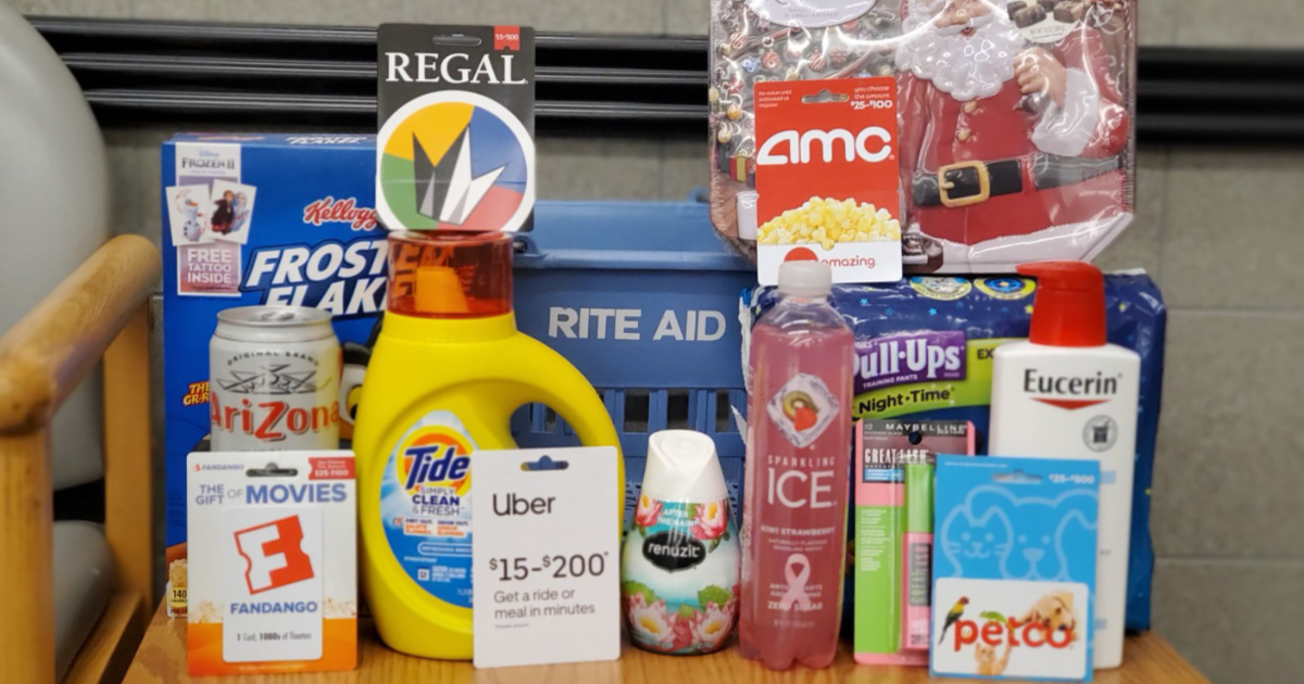 various items in front of a Rite Aid shopping basket