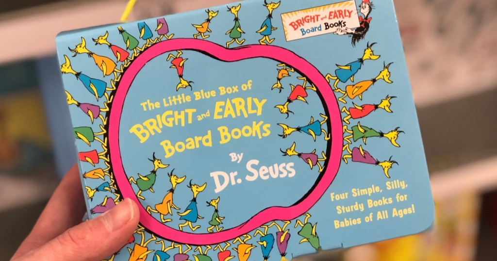 person holding The Little Blue Box of Bright and Early Board Books