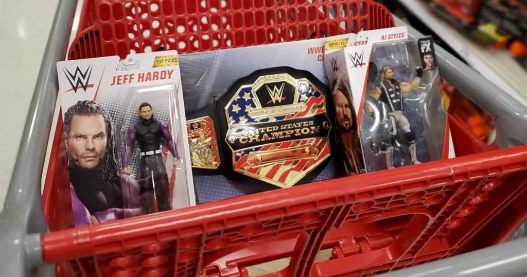 WWE Toys sitting in Target shopping cart