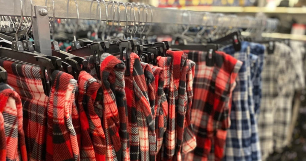Men's Plaid Pajama Bottoms Hanging on Store Display JCPenney