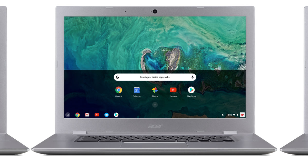 """Acer Chromebook 15"""" touchscreen laptop on white background"""