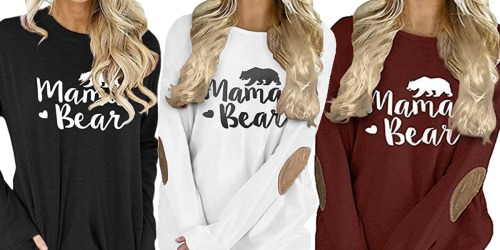 Mama Bear Long Sleeve Women's Tees Only $12.99 on Amazon