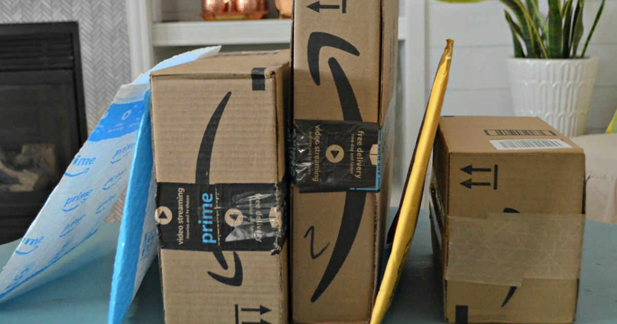 Amazon Packages on a dining table