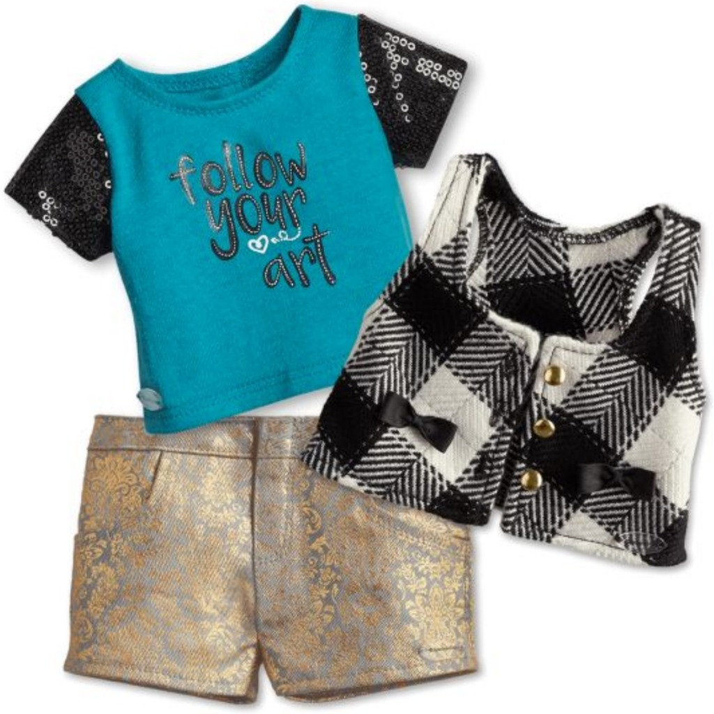 American Girl City Plaid Vest & Follow Your Art Tee Outfit