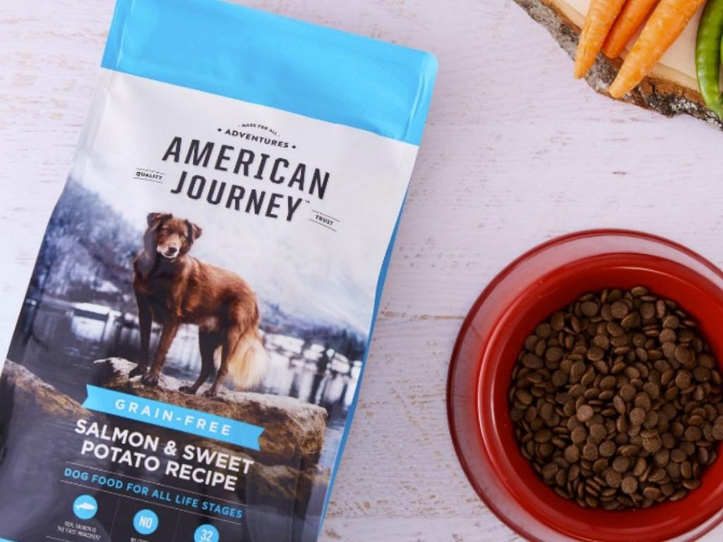 Bag of grain free dog food on counter top