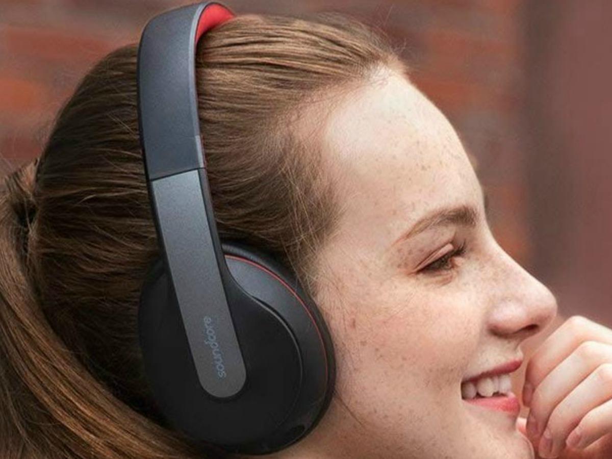 Woman wearing Anker Soundcore Life Bluetooth Headphones