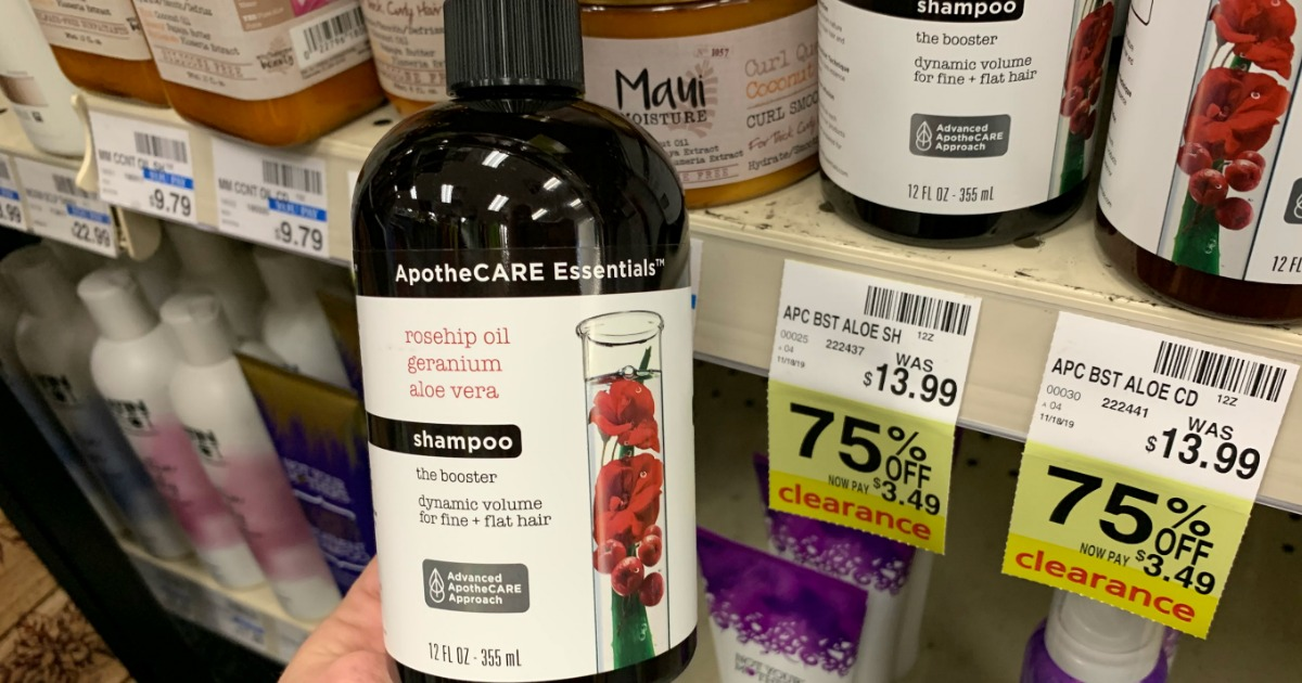 ApotheCARE shampoo in front of shelf
