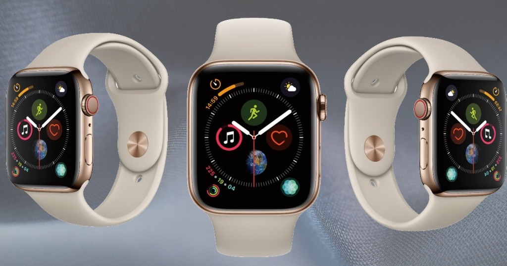 Gold Apple Watch at 3 angles
