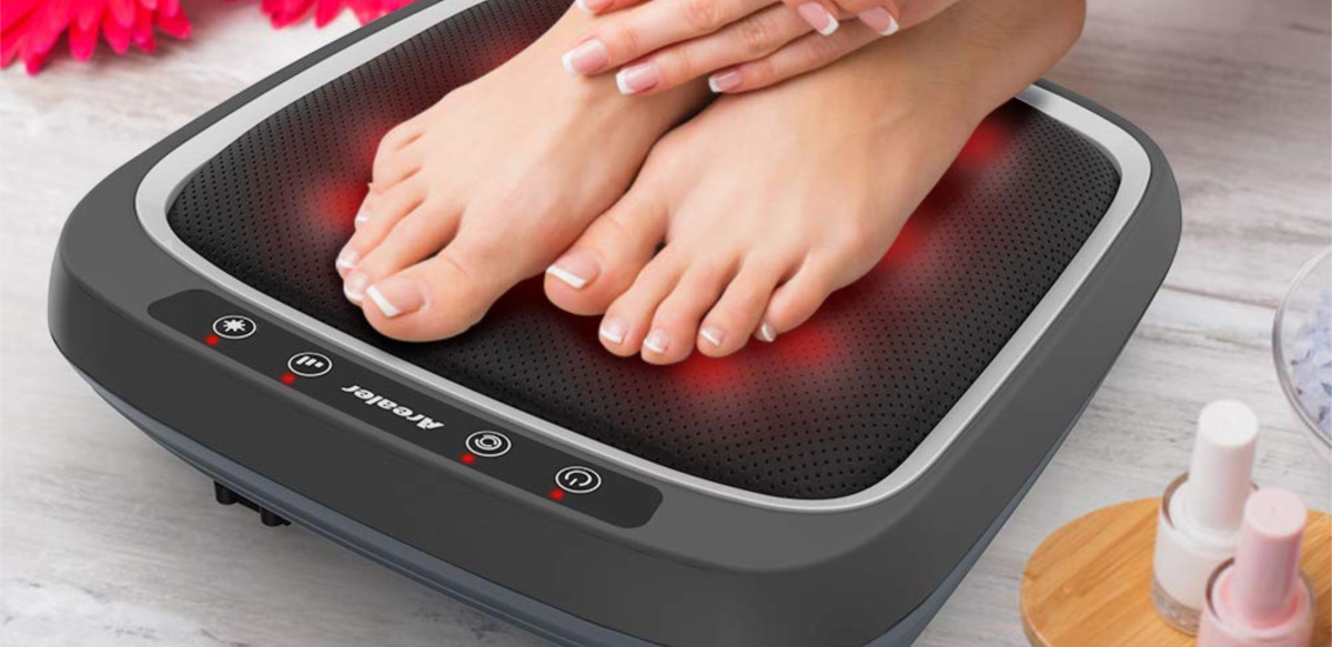 feet on foot massager