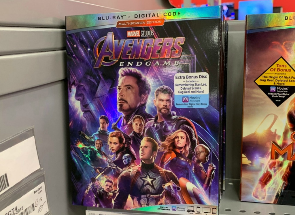 Blu-ray of Marvel Avengers on display in-store