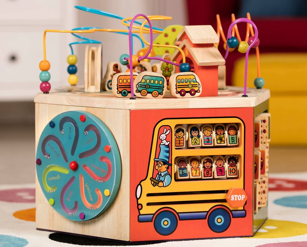 B. toys - Youniversity - Deluxe Wooden Activity Cube