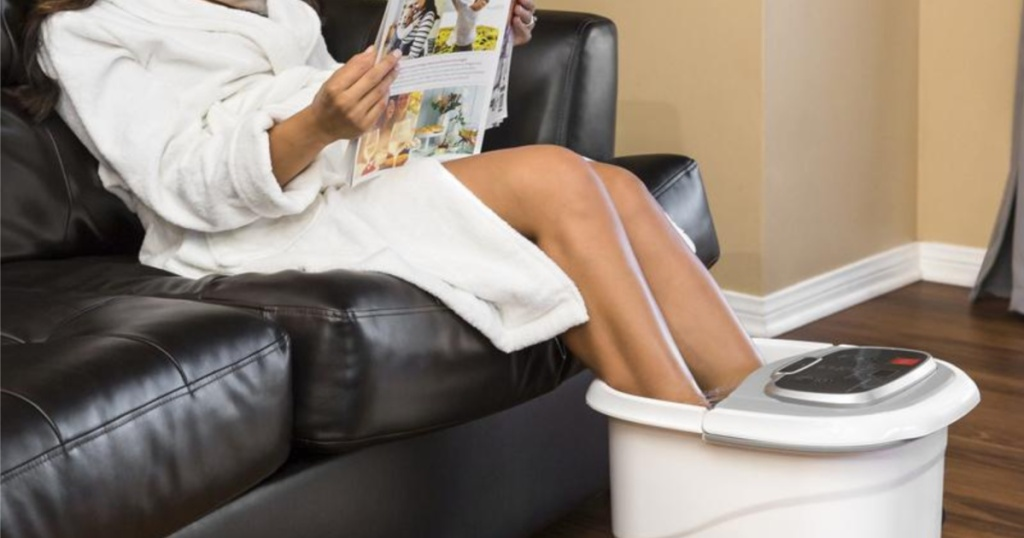woman using best choice products foot spa