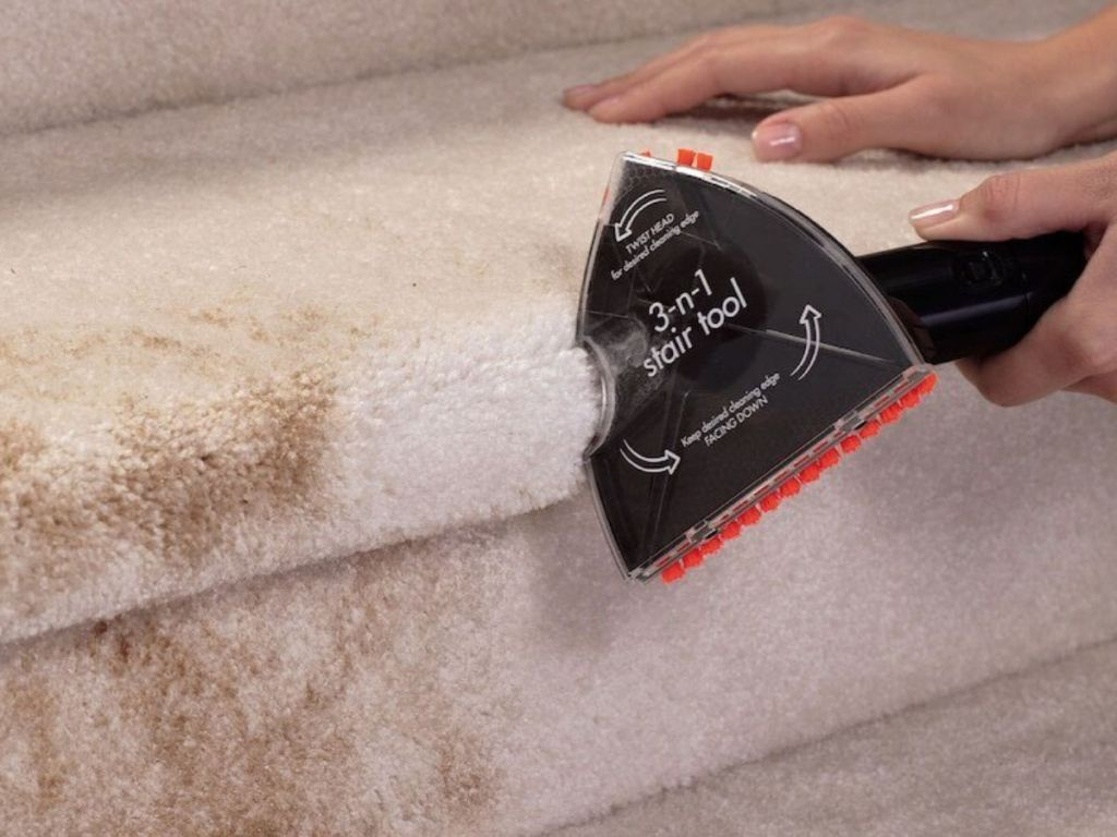 BISSELL Little Green ProHeat Portable Deep Cleaner Stair tool cleaning dirty stairs