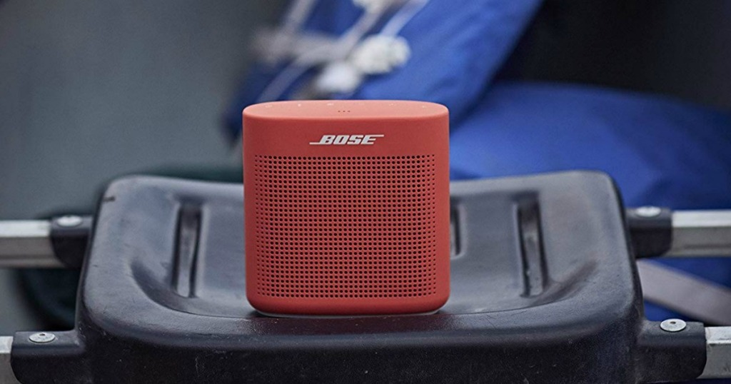 BOSE Soundlink Speaker sitting on seat of boat