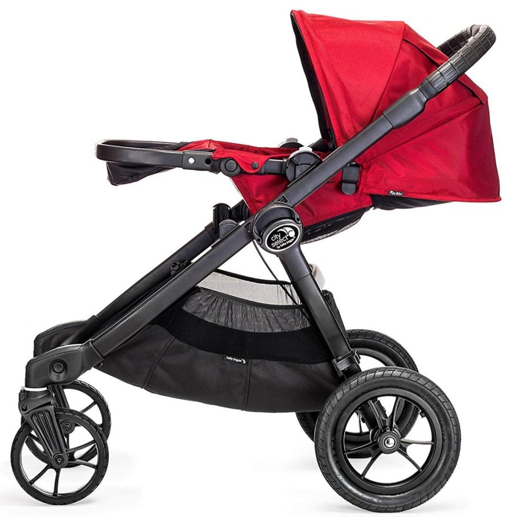 Black and red jogging stroller