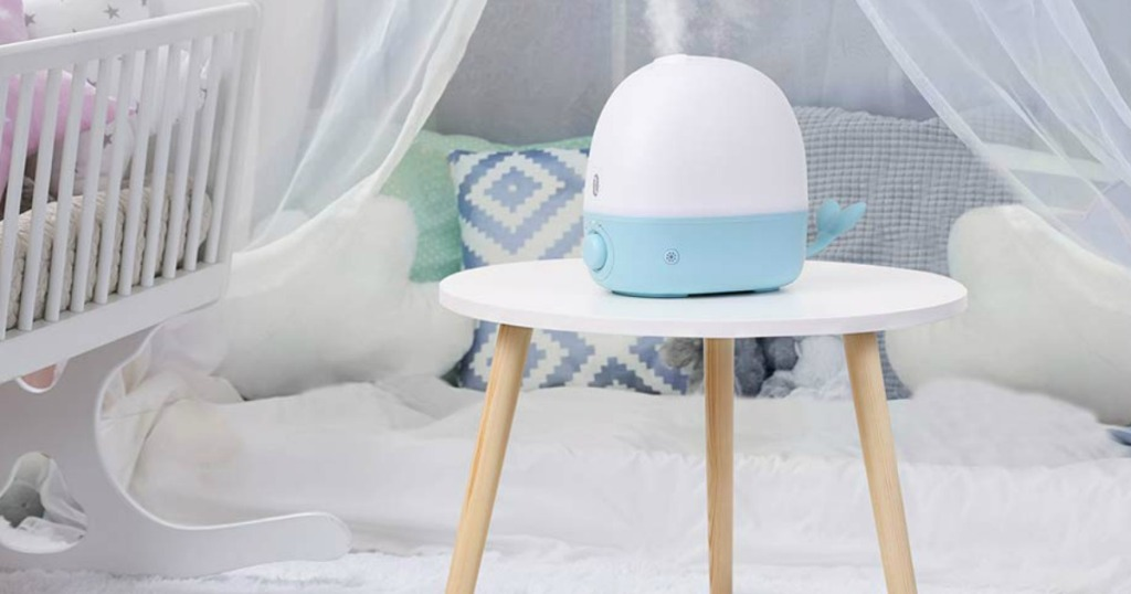 Baby whale Humidifier on side table in nursery