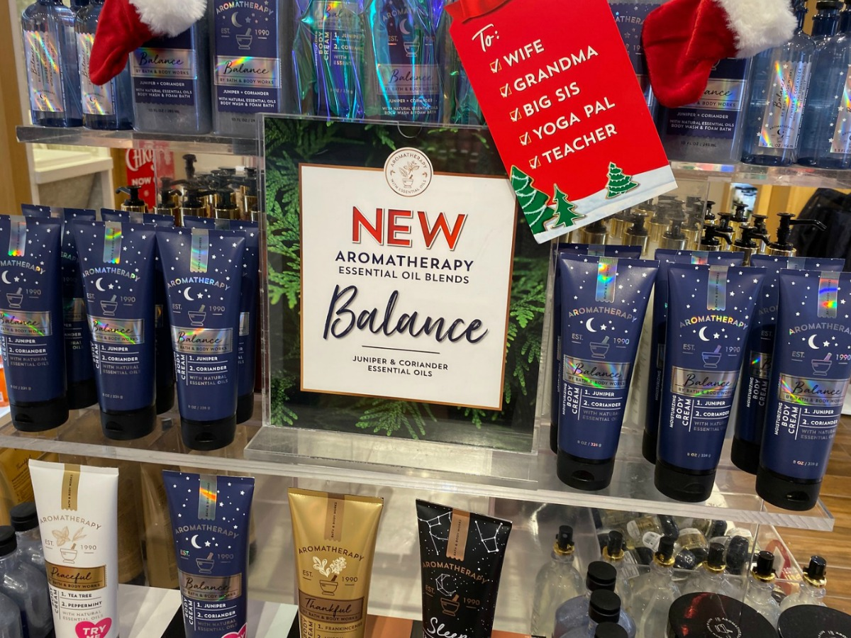 Bath & Body Works Aromatherapy in-store display