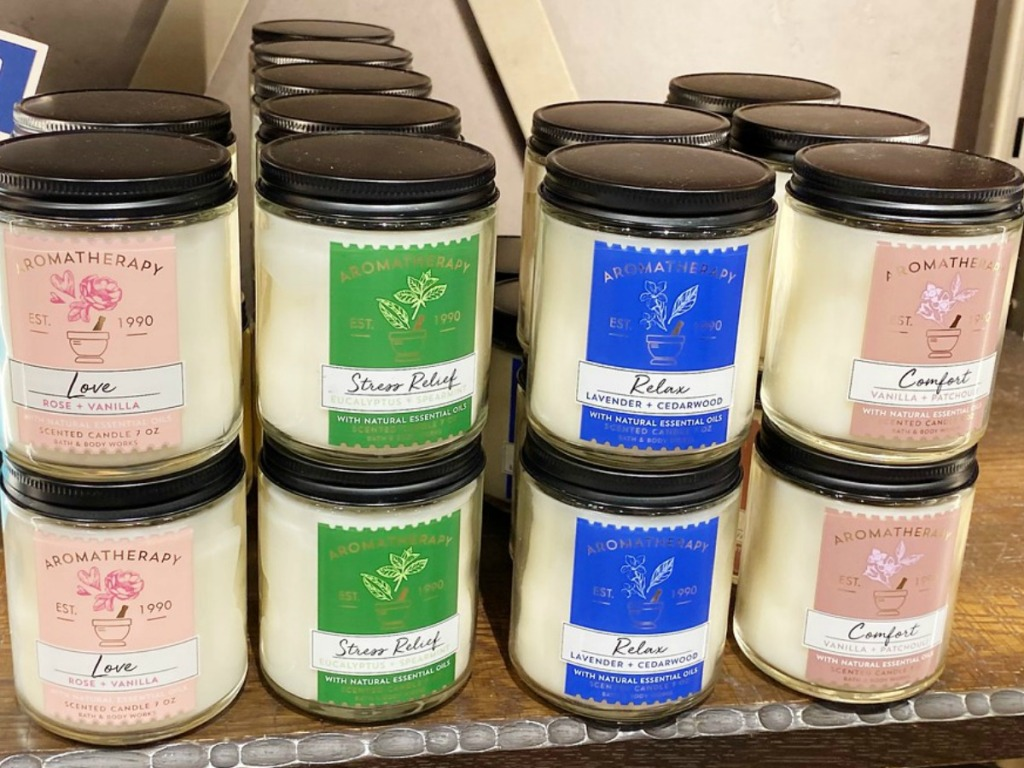 Store display of Bath & Body Works Candles