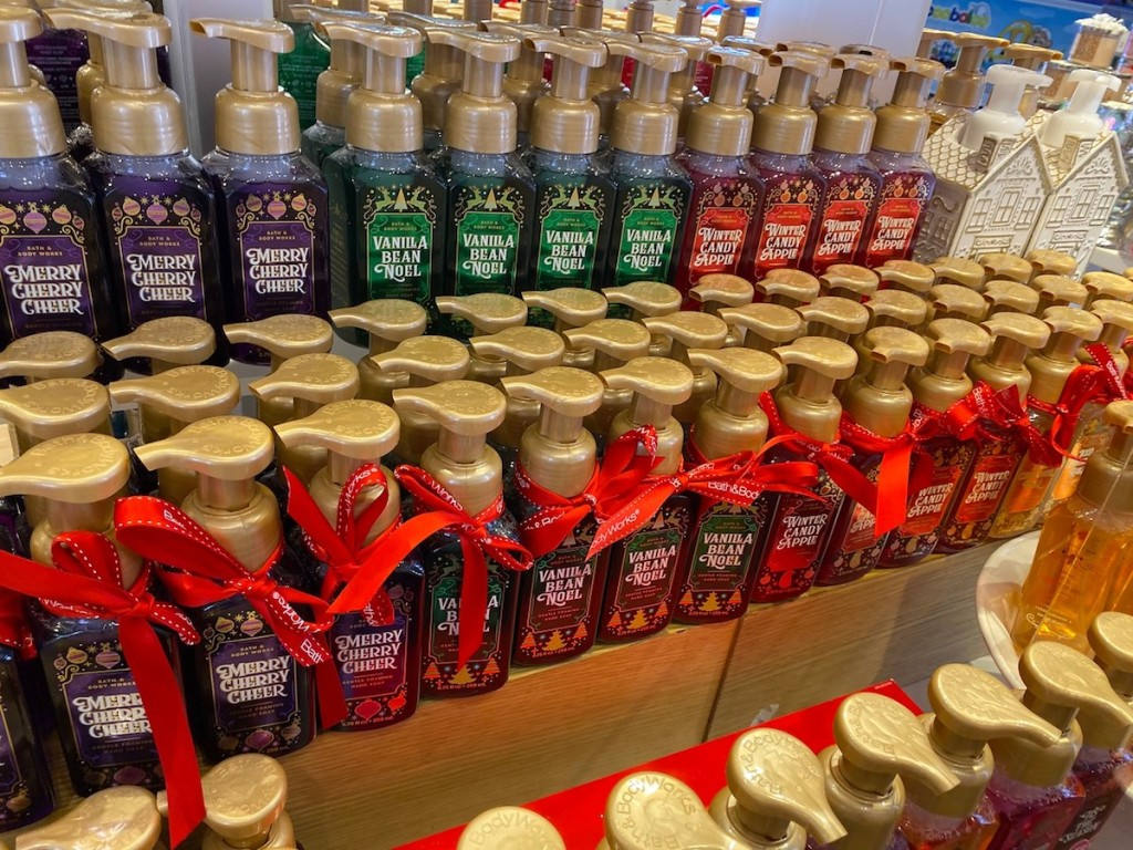 Bath Body Works Winter Hand Soaps on display in store