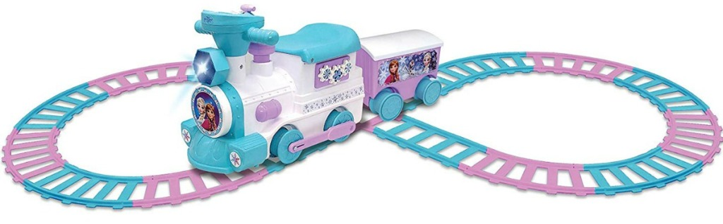 Disney's Frozen-themed Battery-Powered Ride-On Train with caboose and tracks