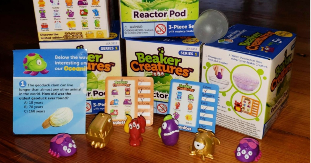 multiple beaker creatures box with unboxed creatures and instructions
