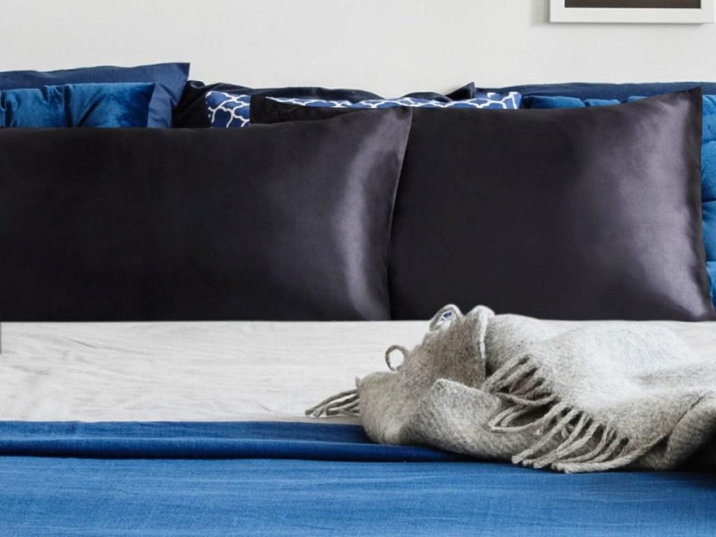 Bedsure Satin Twin-Size Pillowcase on bedspread