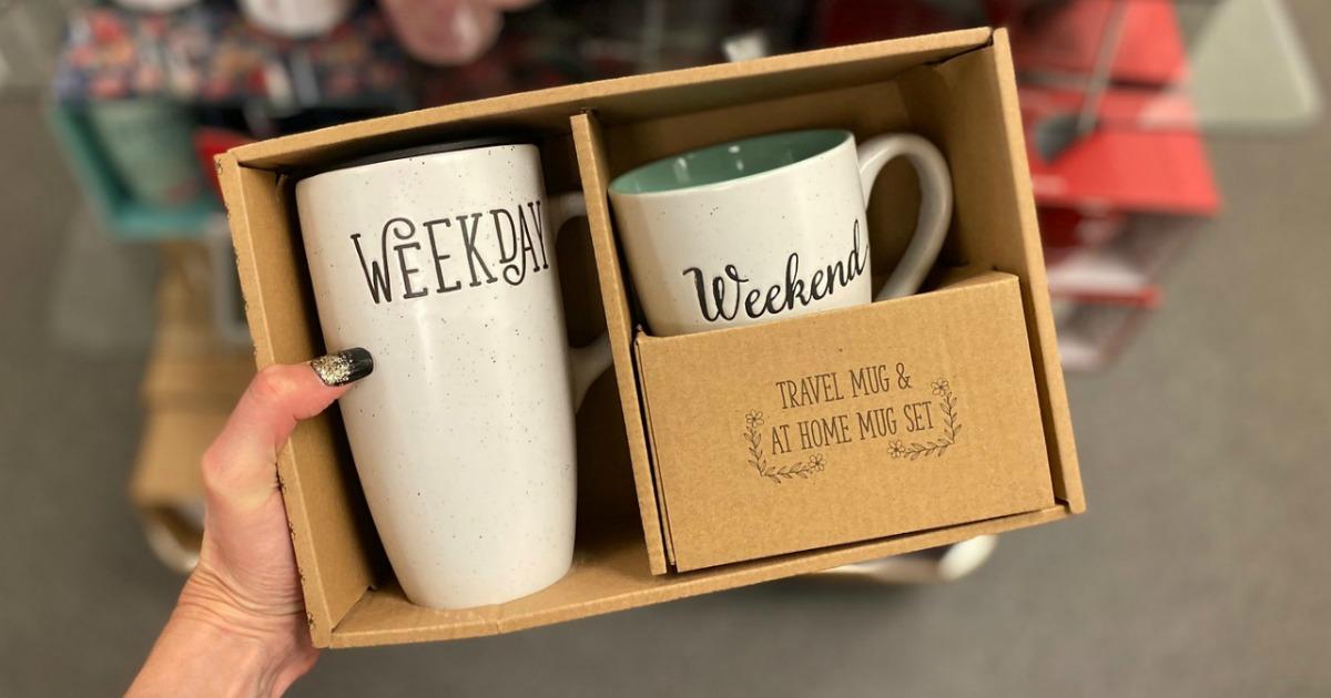 Two piece mug set in box