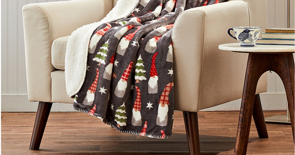 gnome throw blanket on chair