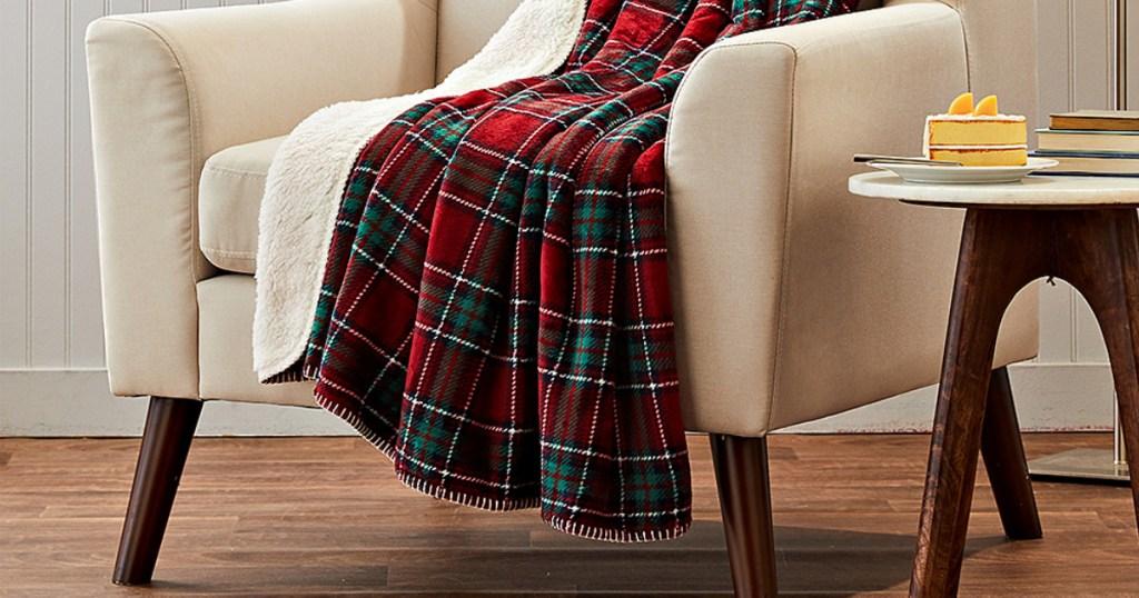 plaid throw blanket on chair
