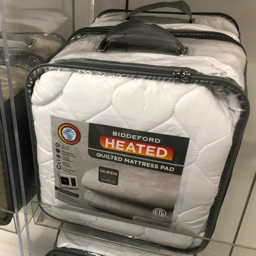 Biddeford Heated Mattress Pad on display at Kohl's store