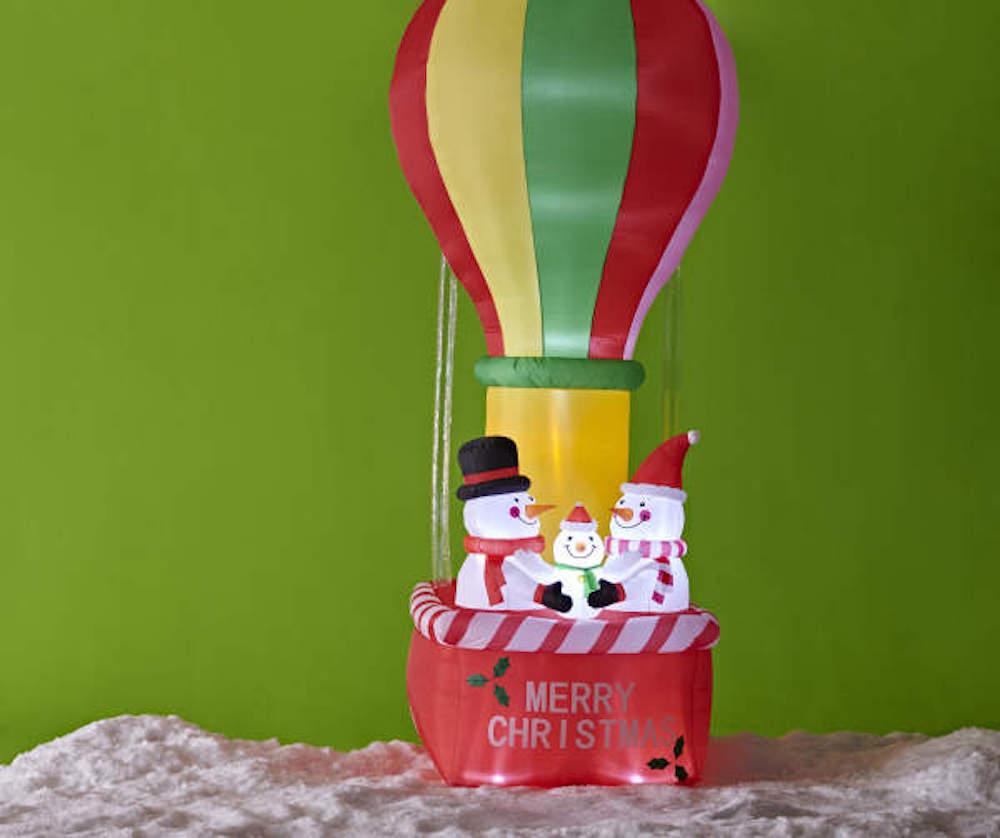 snowmen in hot air balloon inflatable