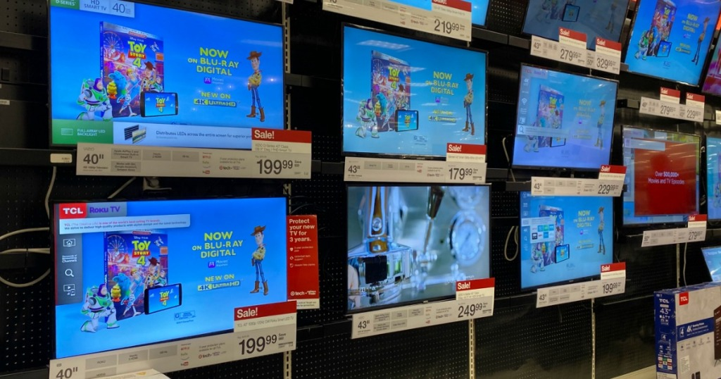 Black Friday TVs at Target on display in store