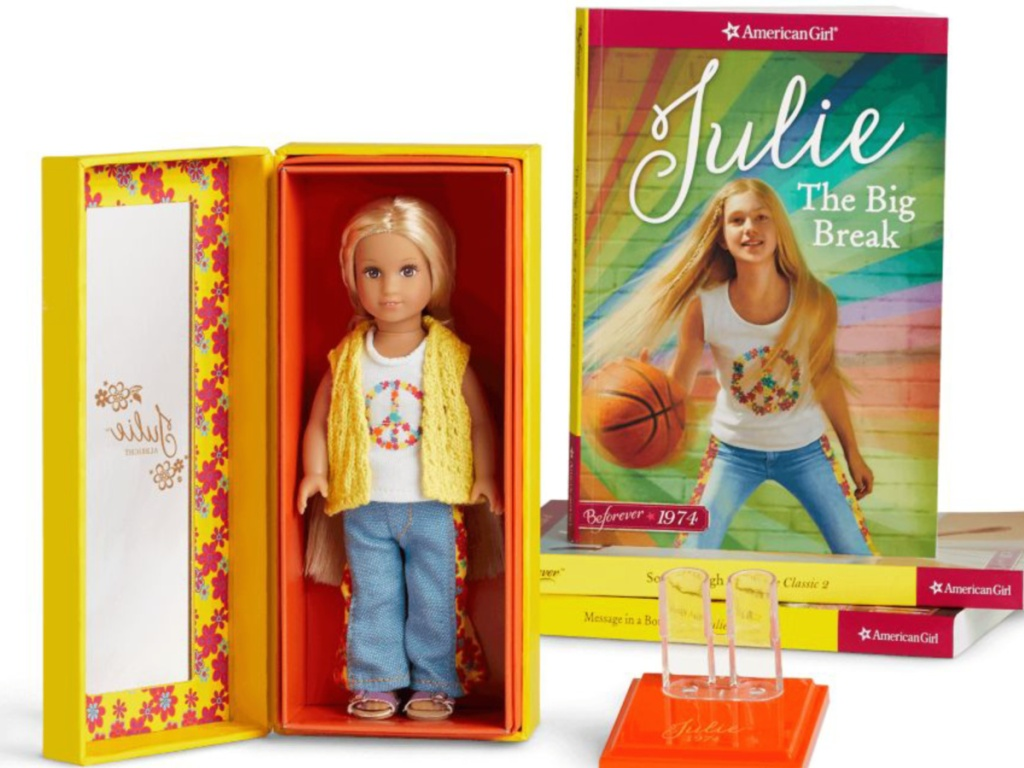 American Girl Mini Doll Julie with book