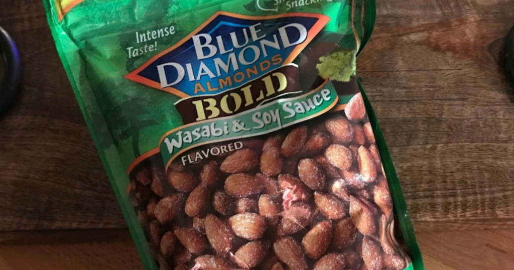 large bag of blue diamond wasabi almonds