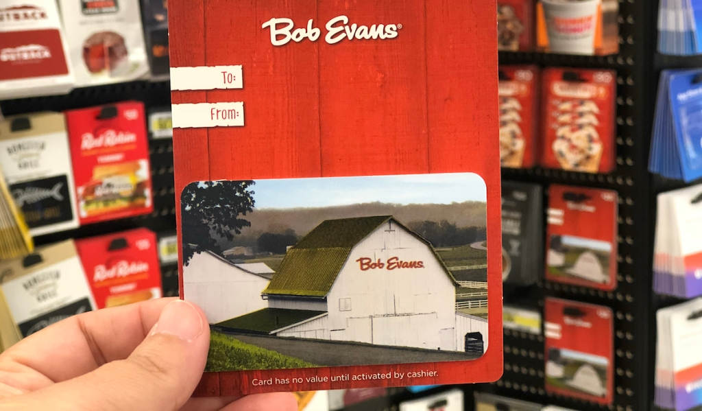 hand holding a Bob Evans Gift Card