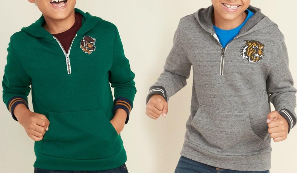 Two boys wearing Old Navy Sweatshirts