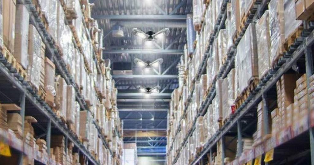 Bright Garage lights in a warehouse