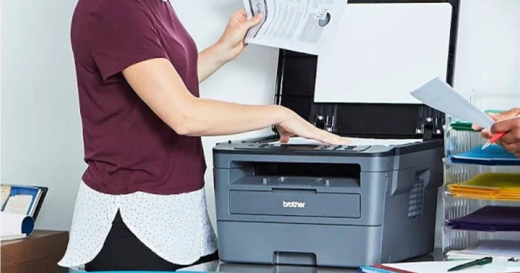 woman using Brother wireless printer