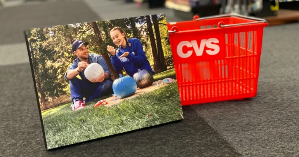 photo canvas leaning on CVS red basket