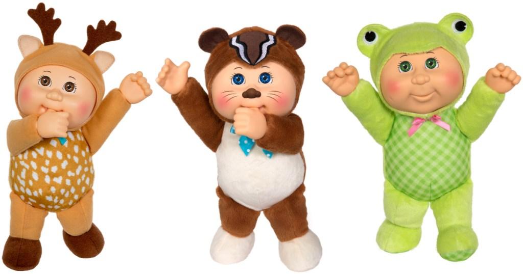 three cabbage patch kids dolls