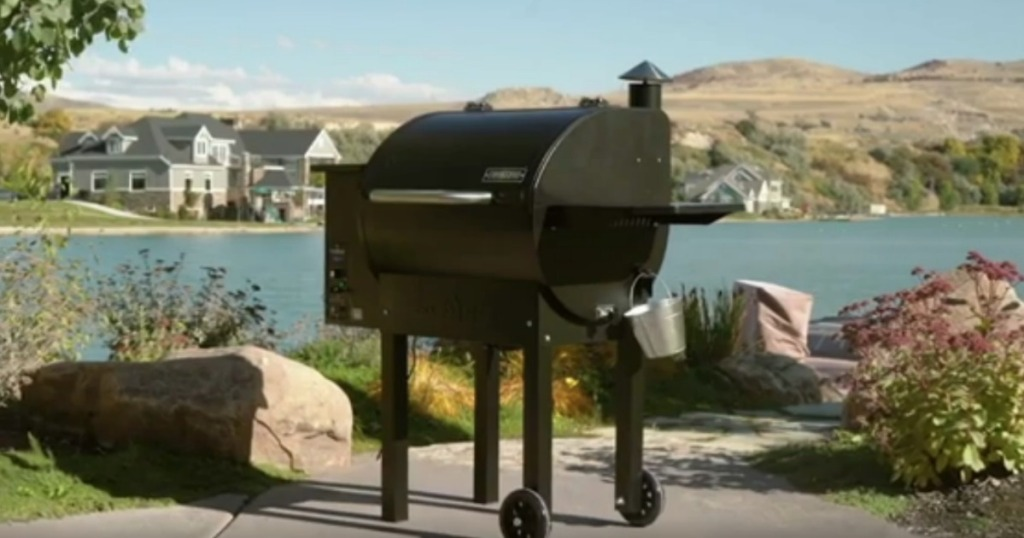 Camp Chef Pellet Grill next to lake setting