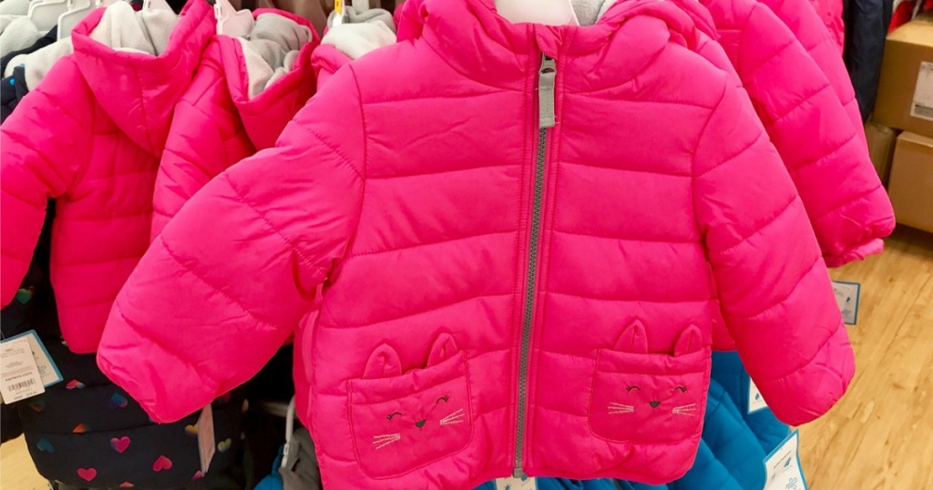 Carters Baby Puffer Coat on hanger at store