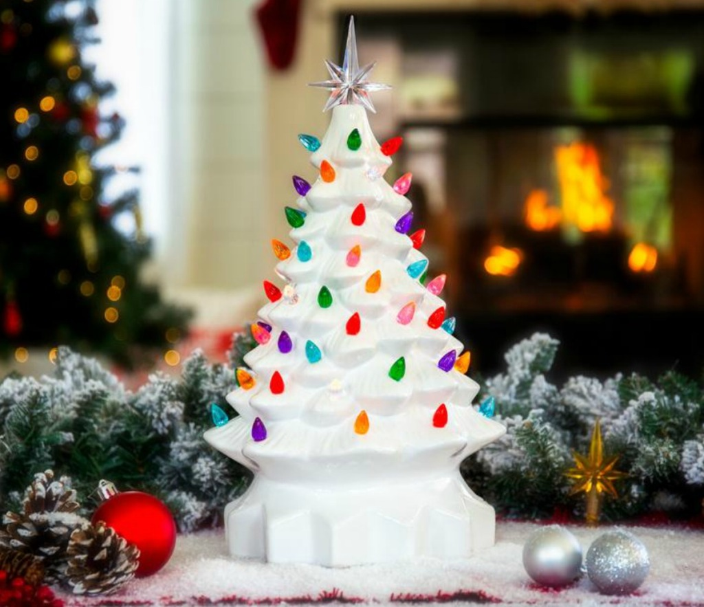 Ceramic Christmas Tree in decorated Christmas scene
