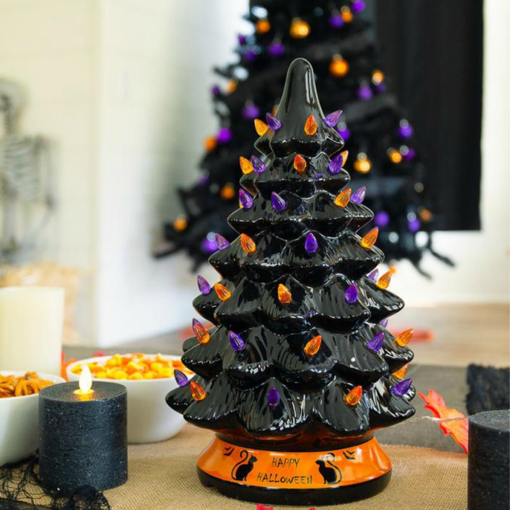 Ceramic Halloween Tree on display in Halloween decorated home