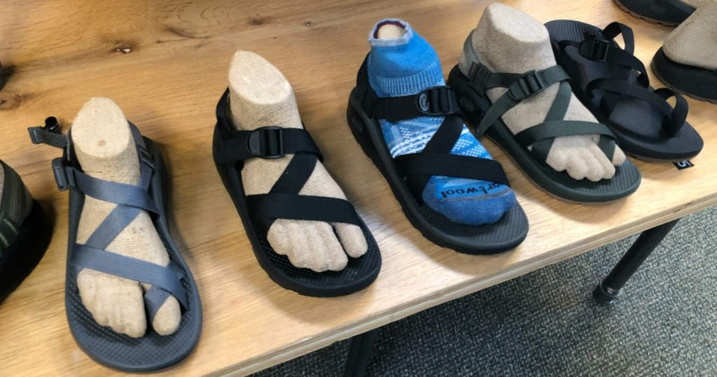 row of Chacos Sandals
