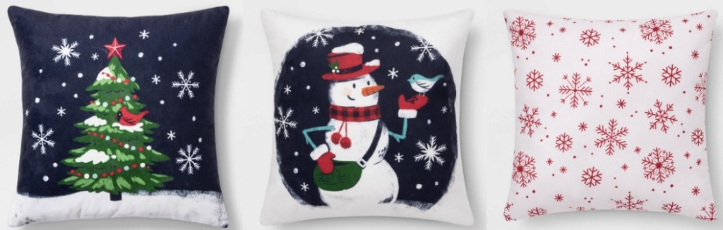 3 different Throw Pillows with Christmas signs