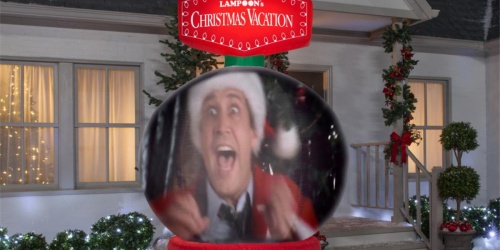 This Video-Projecting 8′ National Lampoon's Christmas Vacation Snow Globe Plays Movie Clips