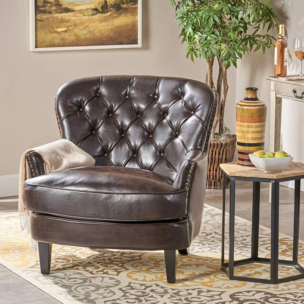 Christopher Knight Home Alfred Tufted Accent Chair in living room
