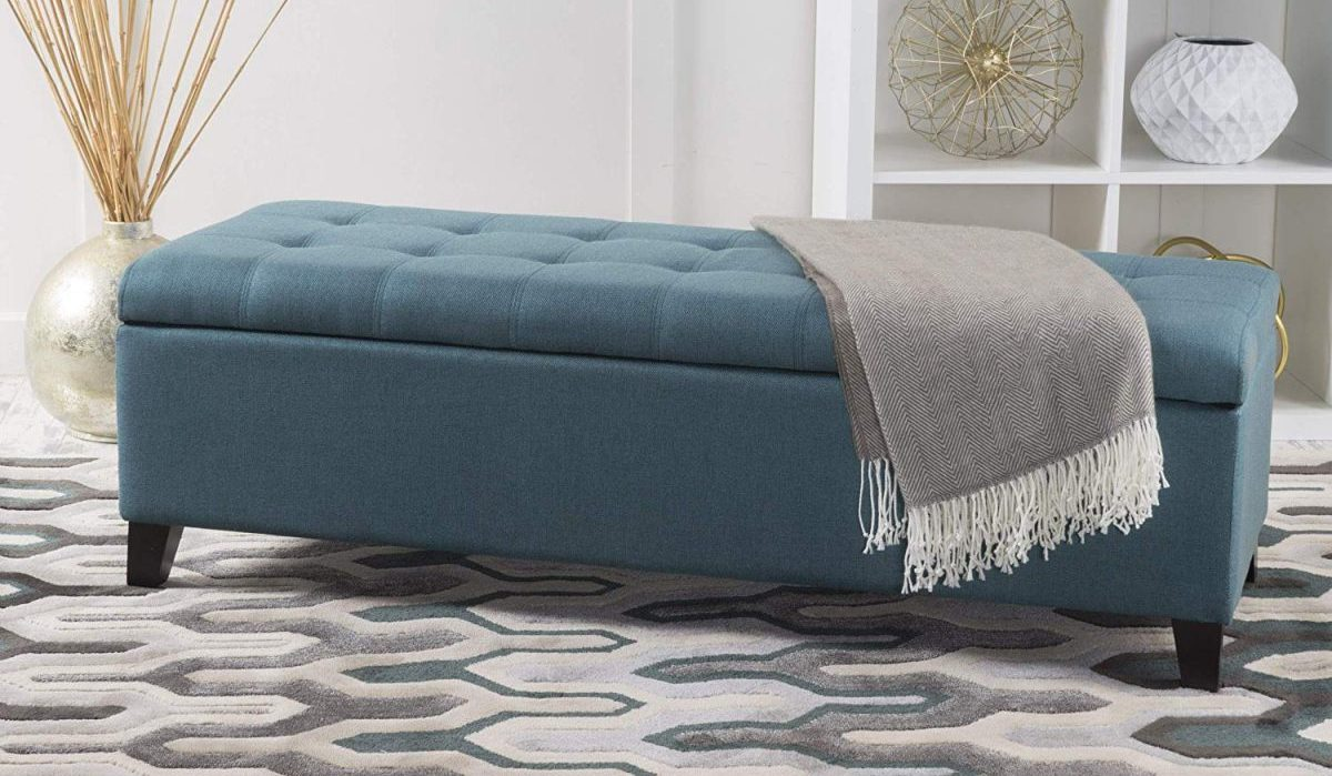 Christopher Knight Home Living Sterling Dark Teal Fabric Storage Ottoman in living room